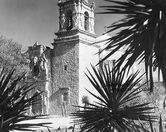 San Jose Mission, San Antonio, Tx, B & W print of original 1950- free shipping USA