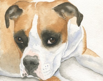 Watercolor Dog Painting, Custom Pet Portrait, Dog Art, Boxer Portrait