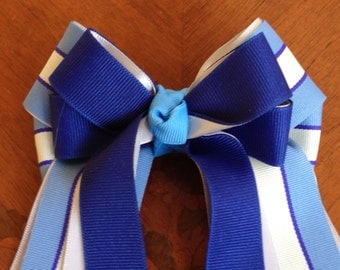 Hair Bows for Horse Shows/Blue Grey Stripe/Equestrian clothing, Classic