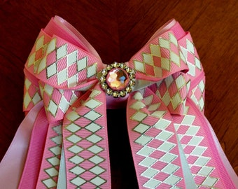Equestrian Bows for horse shows/beautiful pink white silver bling