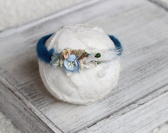 new born felted wire halo,new born teal halo