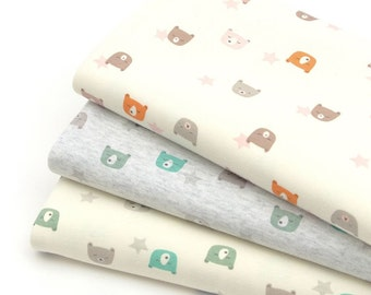 Mini Bear 40s Cotton Interlock Knit Fabric by Yard  - 3 Colors Selection