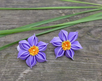 Lilac Daffodils. Set of 2 ponytail holders. Kanzashi purple flowers. Violet flowers. Lavender purple, yellow, orange. Flower Hair clip.