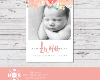 Printable - The 'Luna' Birth Announcement | Baby Birth | Thank You | Watercolor | Floral