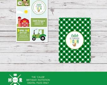 Printable - The 'Caleb' Farmyard Birthday Invitation | Baby Shower | Barnyard | Tractor | Farm | John Deere