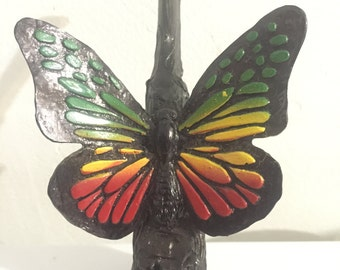 Tobacco Hand Made Pipe, Rasta Butterfly Design