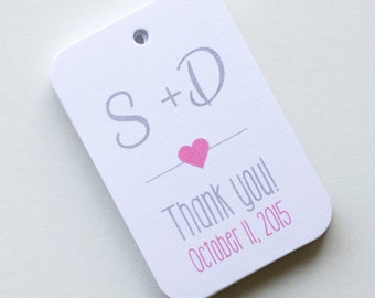 Initial Tags, Monogram Favor Tags, Thank You Wedding Favor Tags, Small Wedding Favor Tags (RR-4)