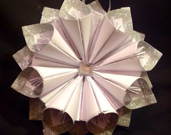 "8"" silver glitter and white kusudama Christmas wreath, tree topper, ornament"