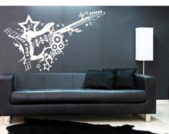 Hot Summer Sale - 20% OFF Rock 'n' Roll Guitar music wall decal, sticker, mural, vinyl wall art
