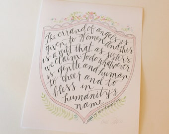"""The errand of angels is given to women...Sisters in Zion lyrics 8-1/2 X 11"""" signed by artist Aimee Ferre print"""