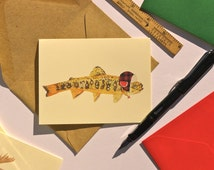 Trout in hunting hat 10 pack of folded note cards with your choice of envelope color.
