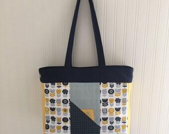 Navy/Mustard Tote.  Adjustable sides.  Unique.  Handmade. Shopper