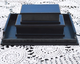 Antique Ebony Wooden Boxes and Gentleman's Valet Desk Tray for Trinkets and Treasures Pair Silk Lined Black Wood Oblong Boxes Matching Set