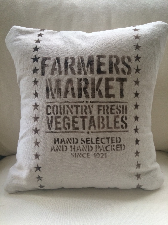 Throw Pillow Covers Farmhouse : Farmers Market Throw Pillow Cover/Farmhouse by MarCostaMarket