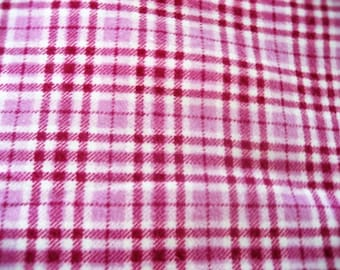 Bright Pink & Raspberry Plaid Cotton Flannel - 1/2 Yard Increments
