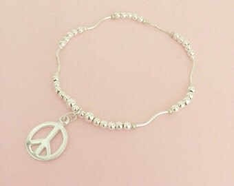 Sterling Silver Beads Stacking Bracelet with Peace Charm on Stretch Elastic