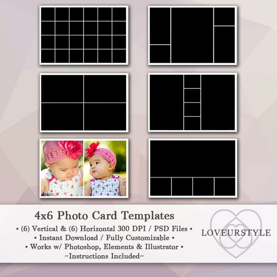 4x6 photo template pack 12 photo card templates photo collage christmas card templates. Black Bedroom Furniture Sets. Home Design Ideas