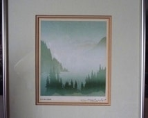 """West Coast Rocky Mountain Landscapes, Smokey Mountains by Peter And Traudl Markgraf """"November"""" Signed Print"""