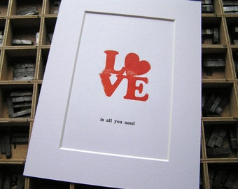 Letterpress hand-printed mounted print - Love is all you need retro 1970s