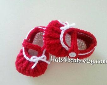 Crochet Baby Booties, Baby Booties, Mary Jane Booties, Baby Mary Jane's, Newborn Booties, Baby Shoes Photo Prop, Baby Shower Gift, Baby Girl