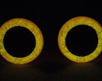 10mm Glow In The Dark Eyes, Orange Glitter Safety Eyes With Orange Glow, 1 Pair Of Glow In The Dark Safety Eyes