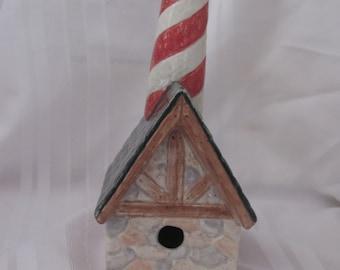 Ceramic Lighthouse Birdhouse