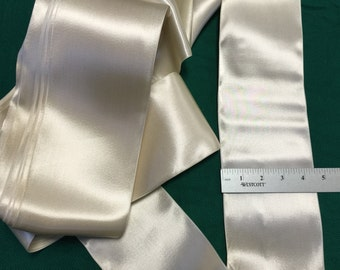 """Vintage Double Faced Satin Ribbon in White, 4 1/2"""" Wide. Sold by the yard."""