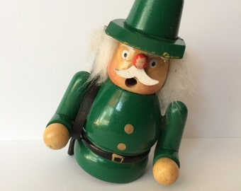 Vintage Wooden Incense Smoker Hunter Woodsman Men Germany Hat Figurine Pipe man Xmas Green Rifle