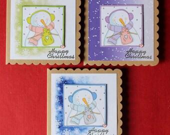 Handmade Snowman Christmas Cards - pack of 3