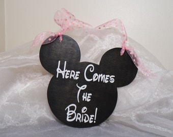 Mickey Mouse Wedding Sign, Here Comes The Bride, And They Lived Happily Ever After, Mickey Sign, Disney Wedding Sign, Double Sided Sign