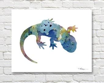 Blue Salamander Art Print - Abstract Watercolor Painting - Wall Decor