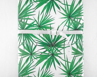 Changing Pad Cover Green Palm, Modern, Organic, Gender Neutral, Tropical, Palm Tree, Palm Frawn, Green, Nautical Nursery
