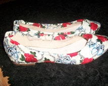 cream skull and crossbone red rose customised flat shoes handmake to order