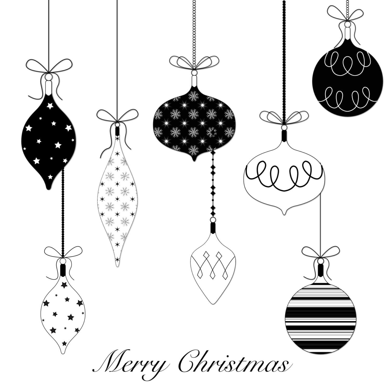 12 Christmas Balls Clip Art, black and white christmas clipart, christmas decoration -12 black ...
