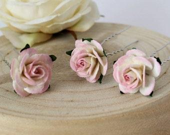 Pink Rose Hair Pins, Pink and Ivory Wedding Hair Pins, Bridal Hair Accessories, Bridesmaid Hair Pins, Boho Wedding Hair Pins