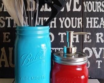 aqua and apple red mason jar kitchen utensil holder and soap dispenser set aqua kitchen   etsy  rh   etsy com