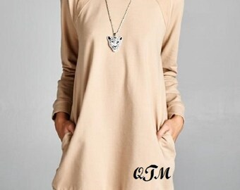 ON SALE Women's Sweatshirt Dress with Pockets Embroidered Monogram