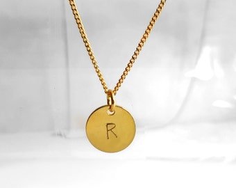 Delicate Short Necklace, Gold Plated Charm Necklace, Hand Stamped Letter Charm Initial, Gold Plated Jewelry, Personalized Pendant
