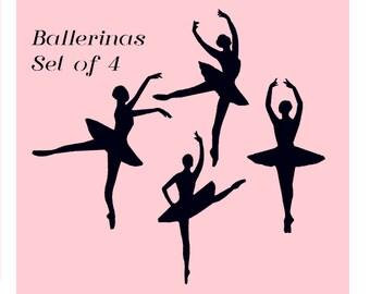 P0001 - Ballerina Silhouette Machine Embroidery Design Set Pack Bundle - Instant Digital Download - Dance, Ballet, Includes Minis