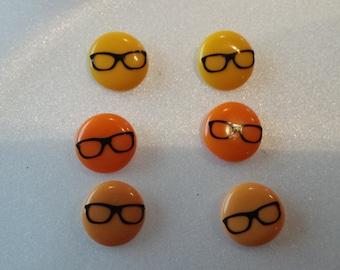 Nerdy Glasses Button Style Pierced Earrings