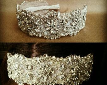 Couture Rhinestone and Pearl Bridal Headpiece; Vintage Art Deco Style Wedding Headband; Jeweled Homecoming/Prom Headband; Designer Bride