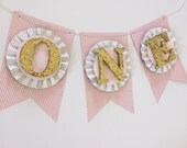 Pink & Gold High Chair Cake Smash Banner. ONE Banner. Age Banner. First Birthday Decorations. Birthday Banner. ONE Photo Prop