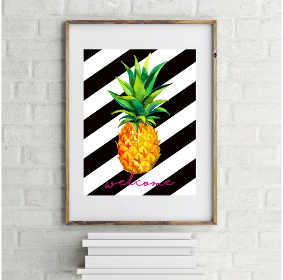 Welcome pineapple sign home decor art diy kitchen print for Diy welcome home decorations