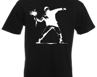 Mens T-Shirt with Banksy Protest Flower Thrower Design / Patriot Shirts / Opposition Disorder Tee Shirt + Free Random Decal Gift