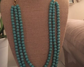 Turquoise stacked beaded necklace