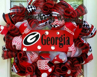 Georgia Wreath, Georgia Bulldogs Door Wreath, Georgia Deco Mesh Wreath, Georgia Front Door Wreath