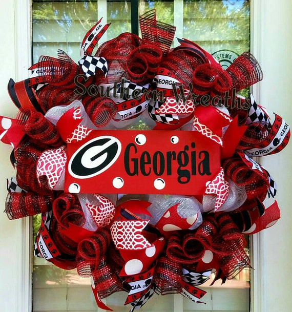 Georgia Wreath Georgia Bulldogs Door Wreath Georgia Deco