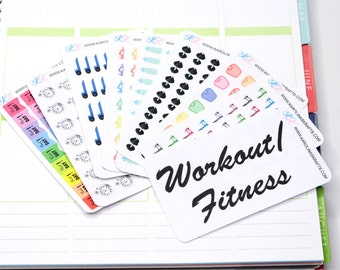 Itty Bitty Fitness Stickers! Perfect for your Erin Condren Life Planner, Filofax, Plum Paper and other planner, scrapbooking! #SQ00860