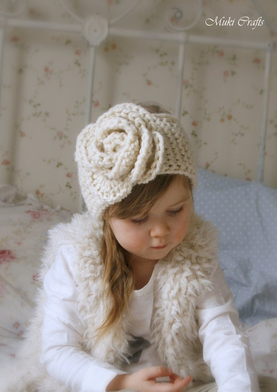 KNITTING PATTERN simple headband Nelly with crochet flower (newborn, baby, child, adult sizes)