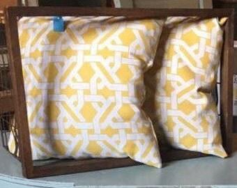 Yellow and White Decor Pillows
